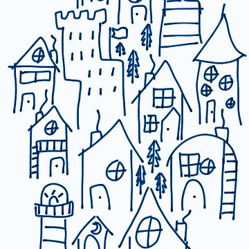 Blue Tiny Village Pattern  by chicken67890