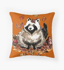 Fall Tanuki Throw Pillow