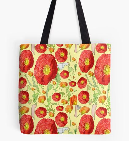Red poppies on yellow  Tote Bag
