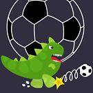 Netter Dinosaurier, der Fußball - Marine-Hintergrund spielt von XOOXOO