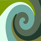 Multicolor Green swirls wave by HEVIFineart