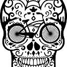 Weinlese-mexikanischer Schädel mit dem Fahrrad - Schwarzweiss von XOOXOO