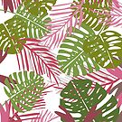 Pink Botanica Tropical Leaves  by elenor27