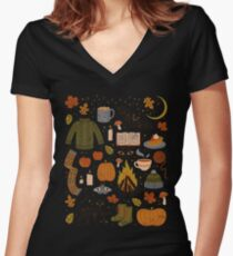 Autumn Nights Women's Fitted V-Neck T-Shirt
