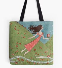 Flying Girl Off the Path, or I May Wander but I Am Not Lost Tote Bag