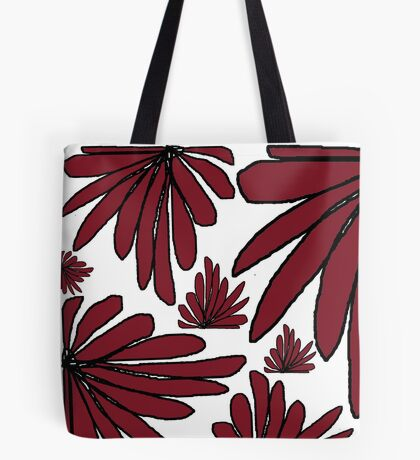 Red wine maroon fern floral abstract Tote Bag