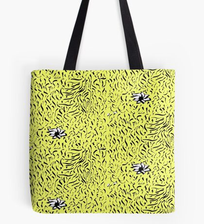 Random doodle 3 yellow with flower   Tote Bag