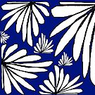 Navy Blue fern floral abstract print by HEVIFineart