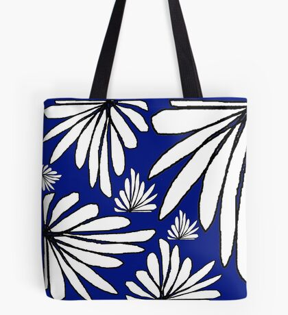 Navy Blue fern floral abstract print Tote Bag