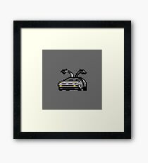 Delorean Classic Car 8-bit Pixel Art Framed Print