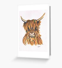 Highland Cow with Thistle, Scottish Borders Country Life Greeting Card