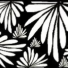 Black white fern floral abstract print by HEVIFineart