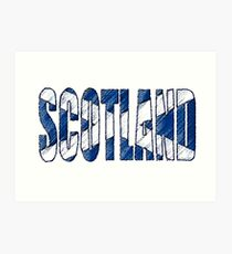 Scotland Font with Scottish Flag Art Print