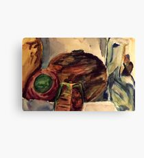 Ceremic Pots on a Shelf Canvas Print