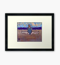 Yoga on the beach Framed Print
