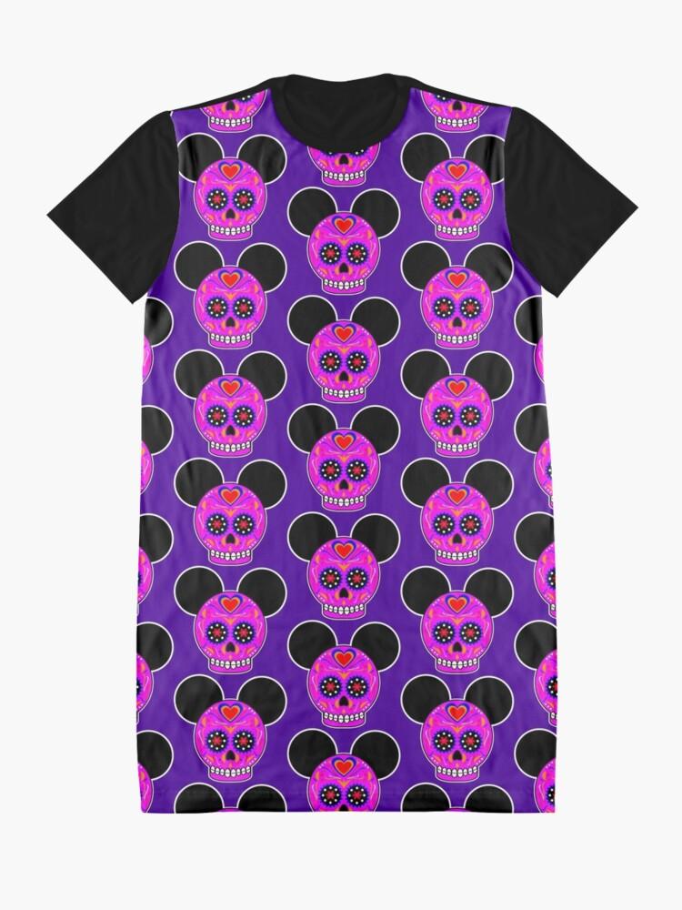 Alternate view of Dia De Los Muertos Ears (Pink) Graphic T-Shirt Dress