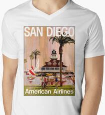 AMERICAN AIRLINES : Vintage Fly to San Diego Advertising Print T-Shirt