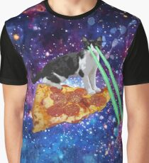 Galaxy Laser Beam Eyes Cat on Pizza Graphic T-Shirt