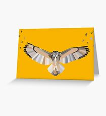 Orange Geometric Owl Greeting Card