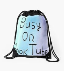 Busy On BookTube Blue Drawstring Bag