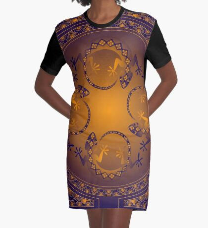 Orange Gecko Graphic T-Shirt Dress