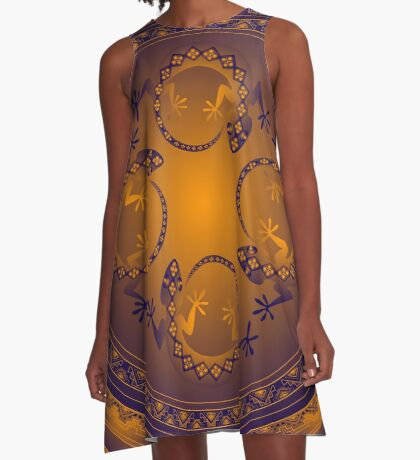 Orange Gecko A-Line Dress