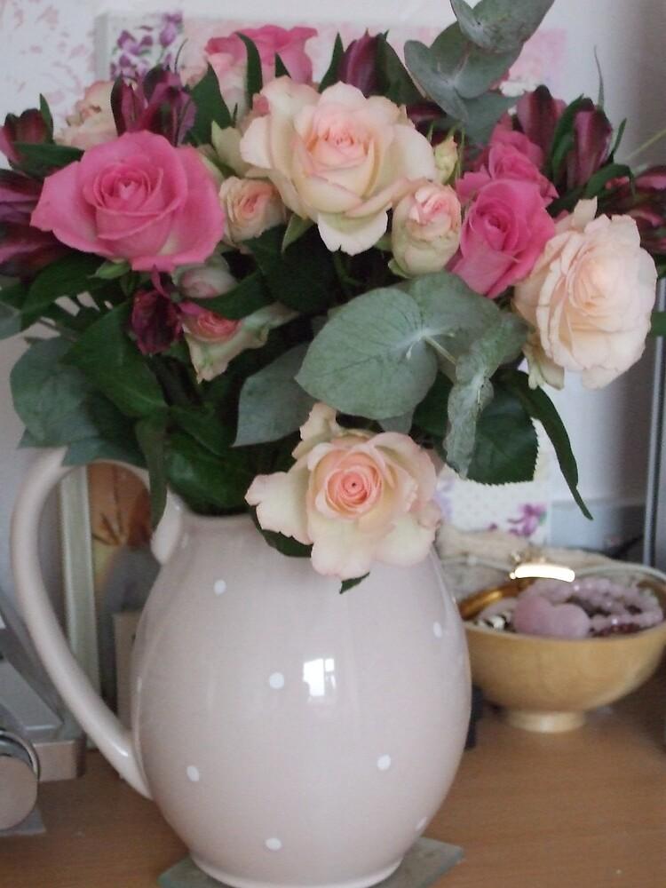 Jug of roses by secretbutterfly