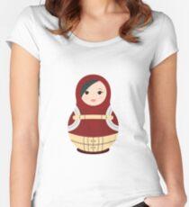 Momo Yaoyorozu Matryoshka Doll Pattern Women's Fitted Scoop T-Shirt