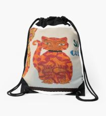 Stay Curious Two Abstract Cats Drawstring Bag