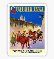 MEXICANA AIRLINES : Vintage Fly to Guadalajara Advertising Print Sticker