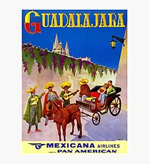MEXICANA AIRLINES : Vintage Fly to Guadalajara Advertising Print Photographic Print