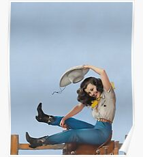 Wild West Series Riding High Cowgirl Poster