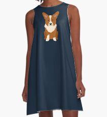 Cute Corgi Puppy Digital Design A-Line Dress
