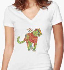Jaguar, from the AlphaPod collection Women's Fitted V-Neck T-Shirt