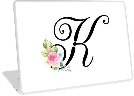 floral monogram fancy script letter k by grafixmom