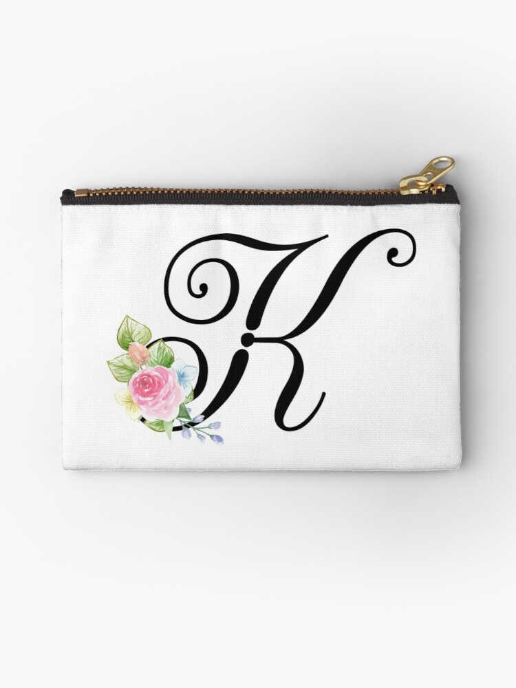 Floral Monogram Fancy Script Letter K Studio Pouches By Grafixmom