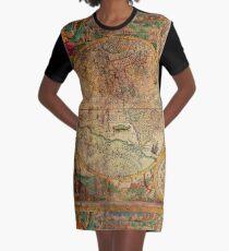 Globus Karte der alten Welt T-Shirt Kleid