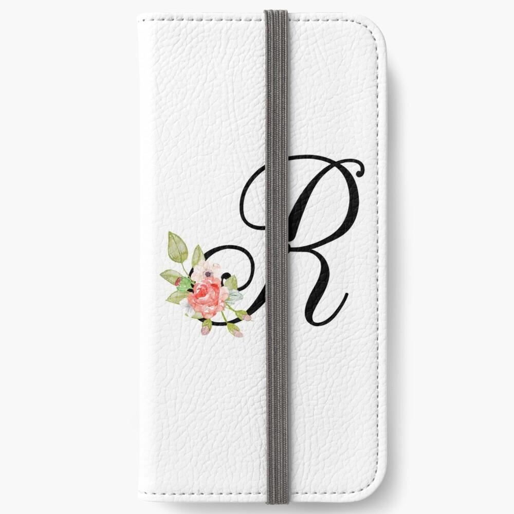 Floral Monogram Fancy Script Letter R | iPhone Wallet