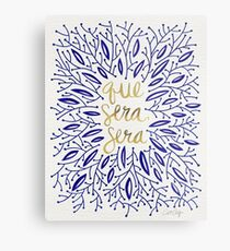 Whatever Will Be, Will Be (Navy & Gold) Metal Print