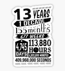 Funny 13th Birthday 13 Year Old Teen Sign Gag Gift Sticker