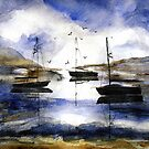 3 Boats in Cat Harbor by Randy Sprout
