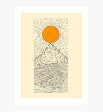 The sun over the mountain waves Art Print