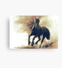 Schwarzes Pferd im Sturm leistungsfähige Zeichnungsentwurf | Galopping Pferdegeschenke Leinwanddruck