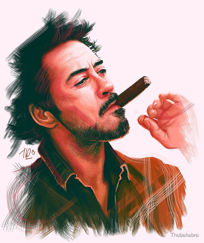 Robert Downey Jr. with cigar, digital painting  by Thubakabra
