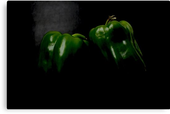 Two Green Peppers by Alan Harman