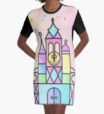 It's a Small World After All Colourful Castle Graphic T-Shirt Dress