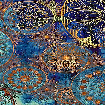 Blue and Gold Vintage Design by Tee-Art