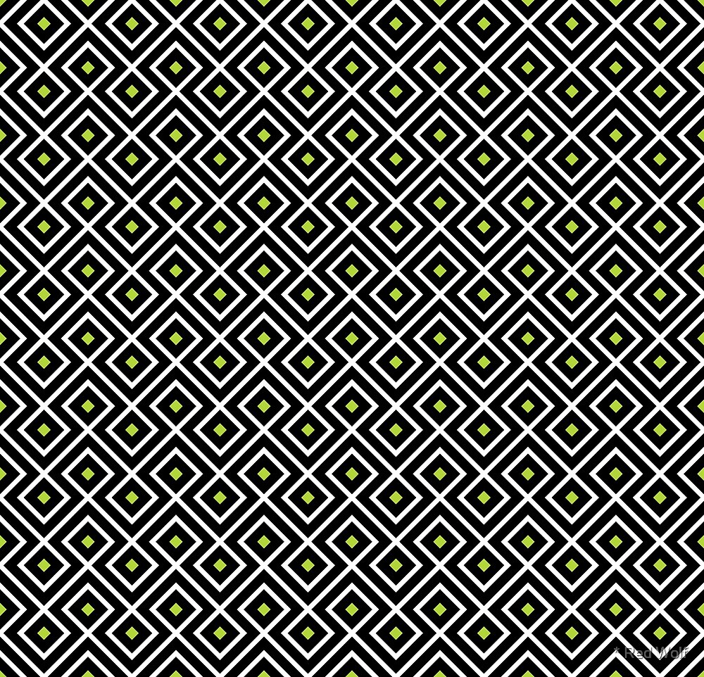 Geometric Pattern: Loop Diamond: Black by * Red Wolf