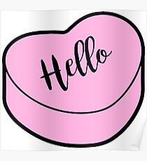 Love Hello | Pink Heart Candy | Conversation Poster
