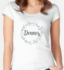 Dennis   First Name in Blue Flower Wreath Women's Fitted Scoop T-Shirt